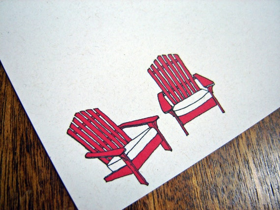 Red Chairs - set of 12 note flats with envelopes
