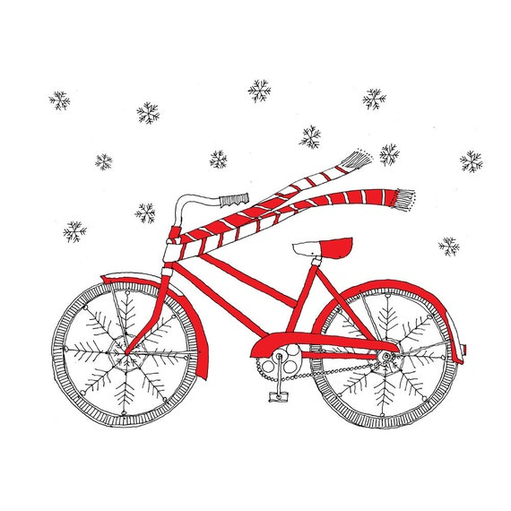 Winter Bike Card - Christmas Card - Holiday Card set of 8