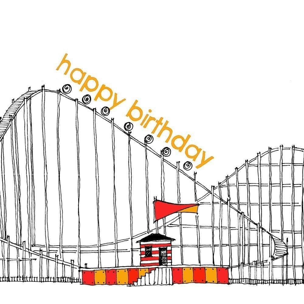 ROLLER COASTER happy birthday card