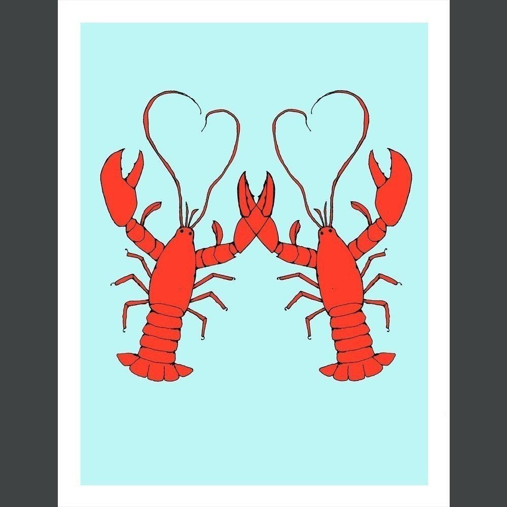 Lobster love card by rachelink on etsy