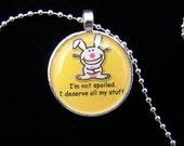 Happy Bunny Digital Image in 1 Inch Round Tray Pendant Necklace