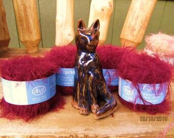 Burgundy fuzzy yarn