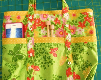 Butterfly and buttons totebag