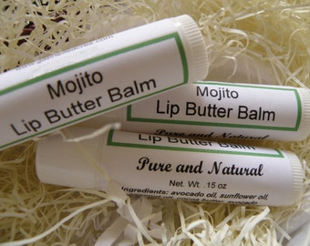 Mojito Lip Butter Balm with Lime & Spearmint, Organic Ingredients and All Natural
