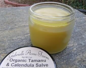 Tamanu Calendula with Calendula Infused in Organic Sunflower Oil - Herbal Salve in Glass Jar