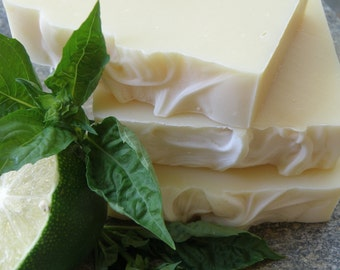 Lime Basil Soap - Handmade Soap - Herbal Soap - All Natural Soap - Essential Oil Soap - Cold Process Soap - Organic Ingredients
