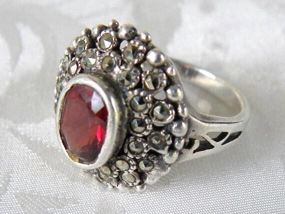 Vintage Sterling Silver Garnet Marcasite Ring - Size 6 - REDUCED