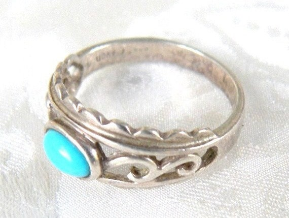 Vintage Avon Sterling Silver Ring With Turquoise Colored Stone