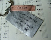 Never drive faster than your Guardian Angel can fly. - Custom hand stamped keychain by MyBella