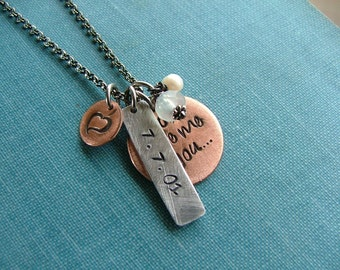 God Gave Me You Custom Hand Stamped Copper with Aluminum Wedding Baby Love Keepsake Necklace by MyBella