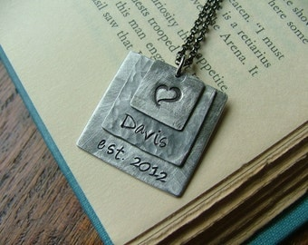 Custom Hand Stamped Layered Aluminum Established In Necklace by MyBella