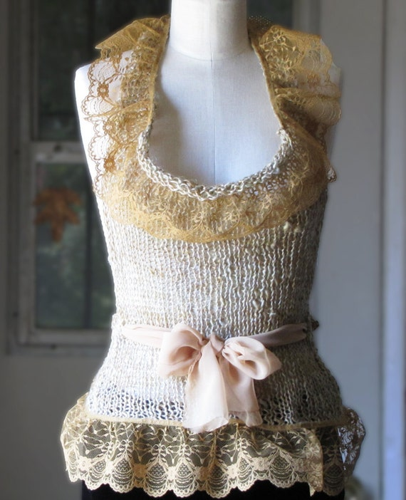 Linen and Lace Halter Top - Wheat and Gold