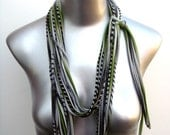 necklushie - grey w/ misty green and black and blk print