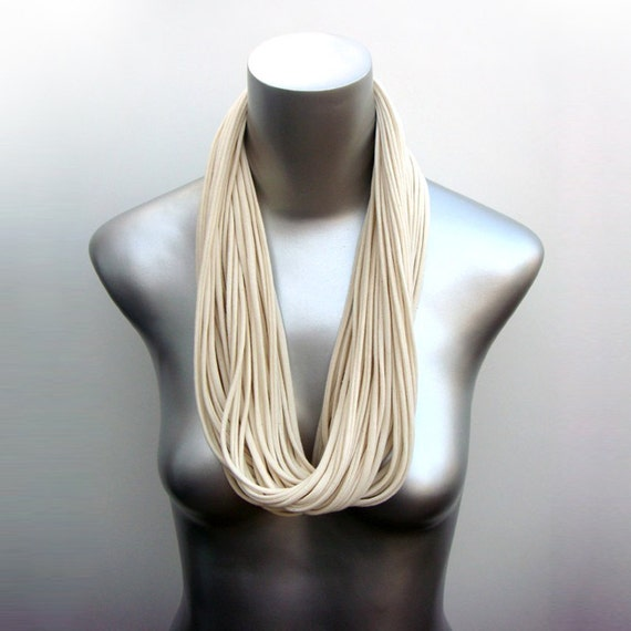 White Scarf, Gift For Her, Womens, Cream Circle Scarf, Cream Scarf, Cream Infinity Scarf, White Cotton Scarf, Scarves, For Her, Womens Gift