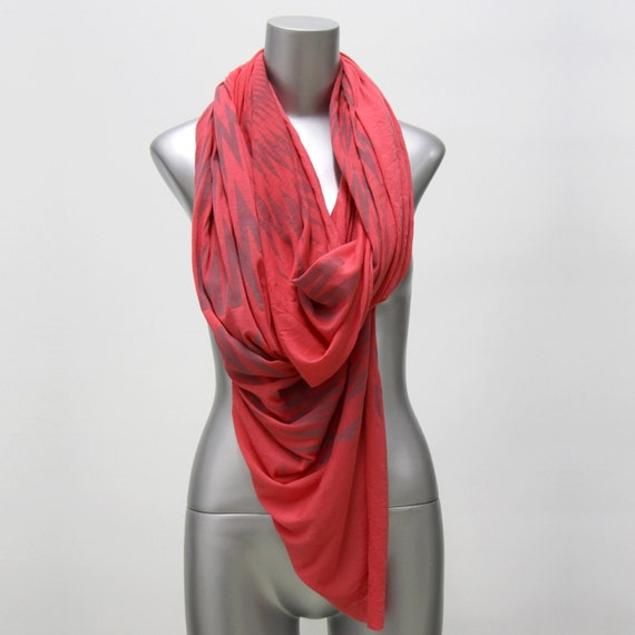 Coral Scarf Infinity Scarf - Hipster Boho Circle Scarf Loop Scarves - Womens Mens Necklace Fabric Jewelry -Tribal Burning Man Scarves Unique