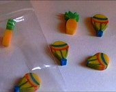 Craft Supplies Erasers Hot Air Balloons and Pineapples 6 Tiny Pcs