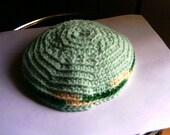 Handmade YaMaKa Kippah Yarmulke  All Cotton Minty Green Medium