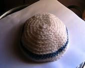 Yarmulke Kippah White with Blue Stripe Small Size