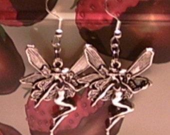 Large Silver Fairy Earrings