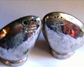 Silver Clam Shells Salt And Pepper Japan Vintage