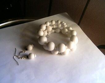 Handmade Large Size White Coil Bracelet and Earrings