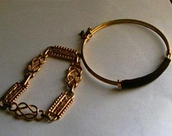 Vintage Gold Bracelets Link and Bangle