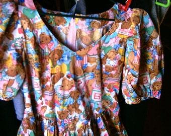 Plus Size Handmade Cotton Teddy Bear Print Gown