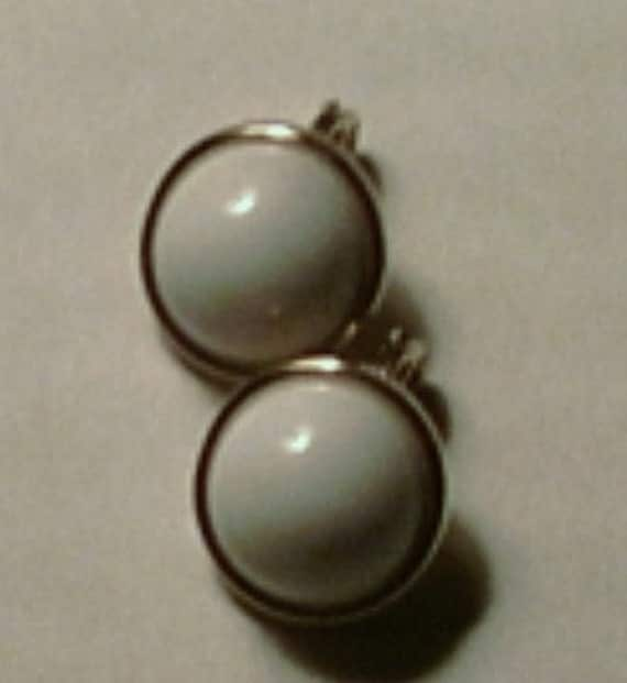 Petite Signed Clip On White Dome Earrings