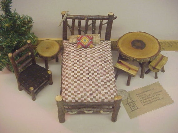 Rustic Miniature Dollhouse Furniture 11 Piece Set Log Cabin 1