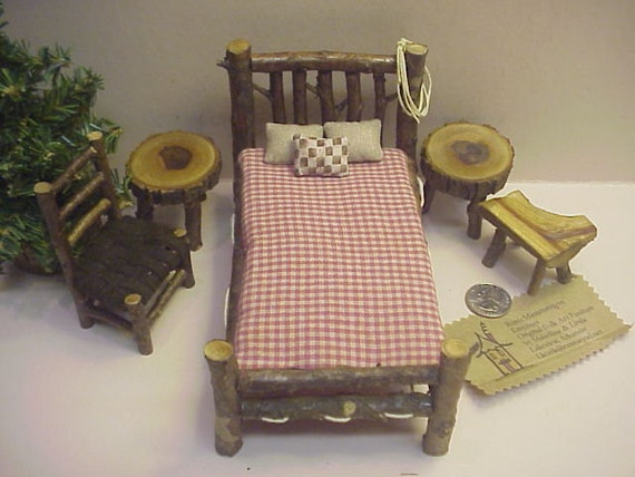 Rustic Miniature Dollhouse Furniture 10 piece Set Log Cabin 1 inch Scale  Bed Tables Chair