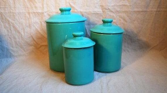 vintage turquoise 3 piece graduated ceramic canister set