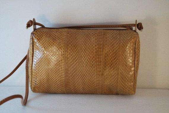 Vintage CADAZ Tan Snakeskin Mini Crossbody Purse Bag