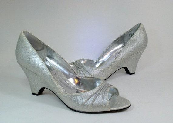 retro peeptoe mod wedge silver prom pumps shoes 9 5