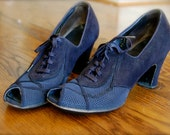 SALE- Vintage 1930's Navy Mesh and Suede Oxford