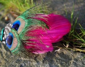 Beautiful Day  Hot Pink Feather and Peacock Hair Clip