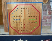 Hand made Aboard game w marbles and dice sign d by craftsman