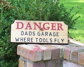 Dads Garage fun wood sign for the Fix it Father engraved sign