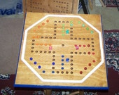 Classic large Aggravation game board w marbles and dice sign d by craftsman