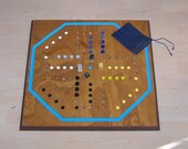Large brown and blue Aggravation game board w marbles sign d by craftsman