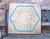 Massive 6 player aggravation game w marbles dice sign d by craftsman