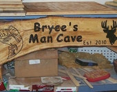 Log wood man cave sign primitive custom made sign made to order