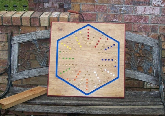 Aggravation game board measuring 2ft x 2ft s .75 inches thick w Marbles and Dice