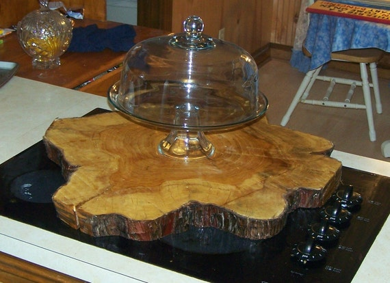 primitive large heavy wedding cake stand made from live wood