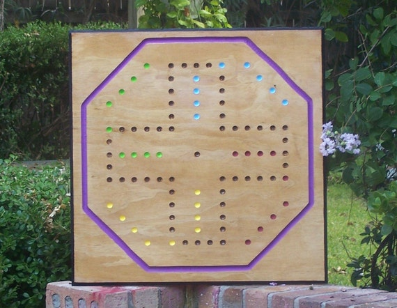 Massive Aggravation board game w marbles and dice sign d by craftsman