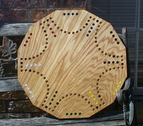 Aggravation style game board made from Red Oak sign d by craftsman