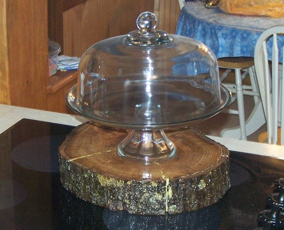 Primitive wedding wood cake stand water oak tree slice