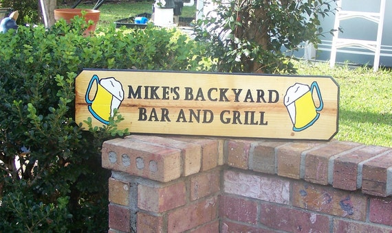 items similar to mikes backyard bar and grill wood sign your name here on etsy. Black Bedroom Furniture Sets. Home Design Ideas