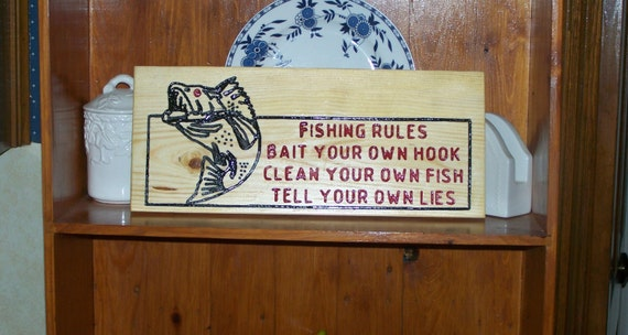 Hand made engraved fishing rules wood sign sign d by craftsman