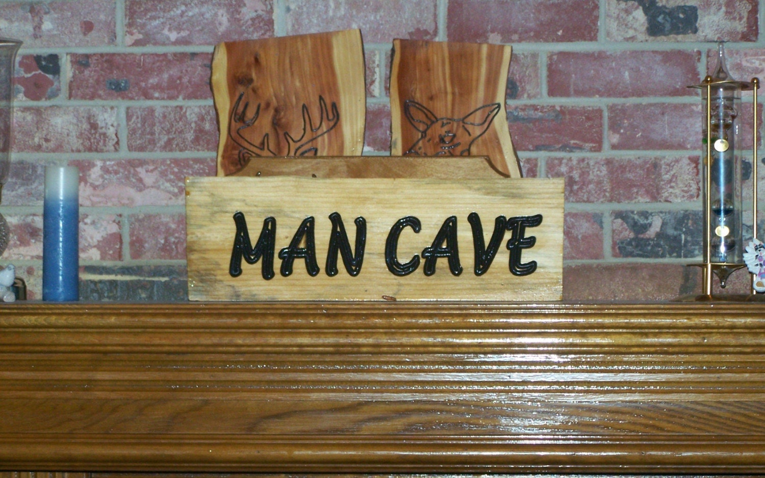 Rustic Man Cave Sign : Man cave sign shabby distressed rustic wood by