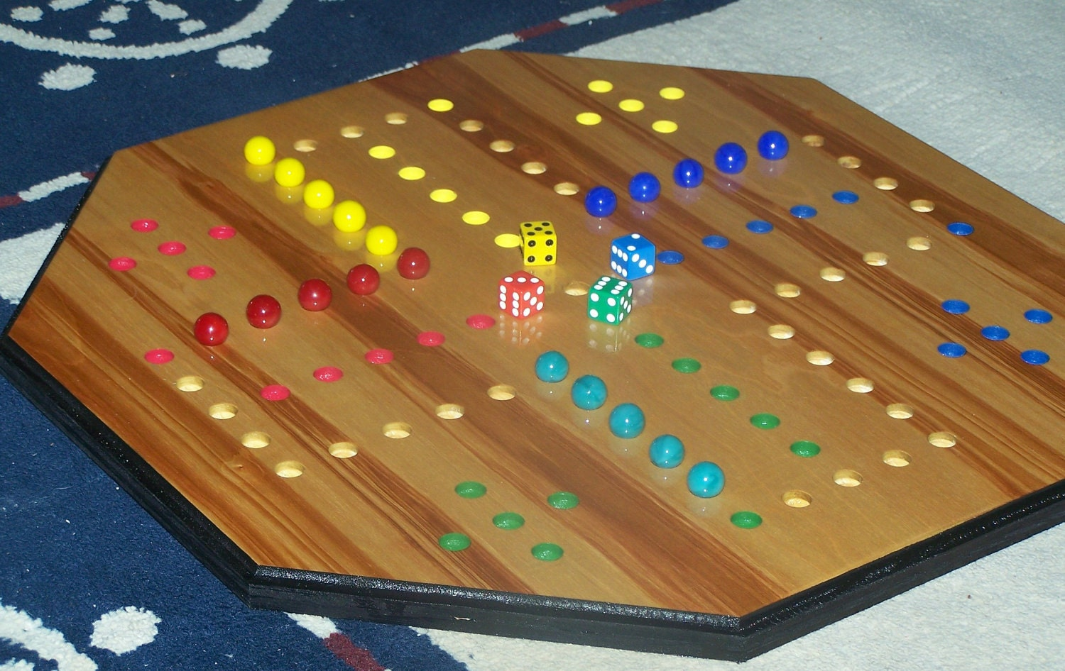 Colored Marbles For Games : Aggravation game player marbles in play by wooddesigner